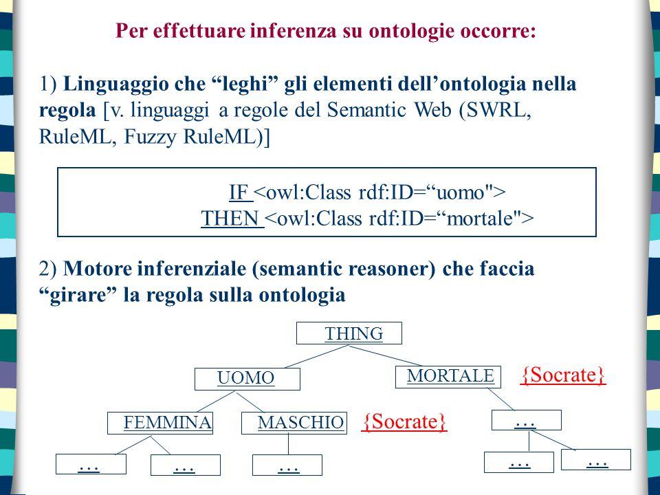 """Per effettuare inferenza su ontologie occorre: 1) Linguaggio che """"leghi"""" gli elementi dell'ontologia nella regola [v. linguaggi a regole del Semantic"""