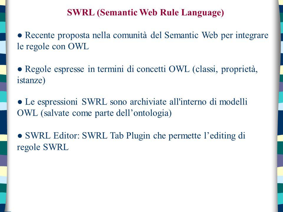 SWRL (Semantic Web Rule Language) ● Recente proposta nella comunità del Semantic Web per integrare le regole con OWL ● Regole espresse in termini di concetti OWL (classi, proprietà, istanze) ● Le espressioni SWRL sono archiviate all interno di modelli OWL (salvate come parte dell'ontologia) ● SWRL Editor: SWRL Tab Plugin che permette l'editing di regole SWRL