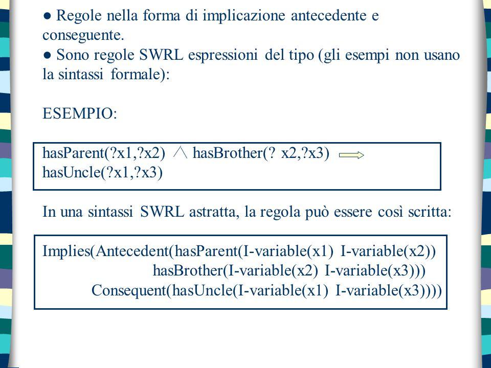 ● Regole nella forma di implicazione antecedente e conseguente. ● Sono regole SWRL espressioni del tipo (gli esempi non usano la sintassi formale): ES