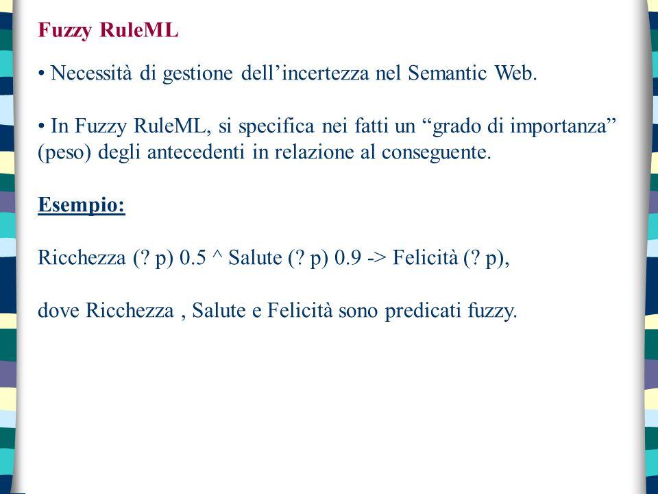 """Fuzzy RuleML Necessità di gestione dell'incertezza nel Semantic Web. In Fuzzy RuleML, si specifica nei fatti un """"grado di importanza"""" (peso) degli ant"""