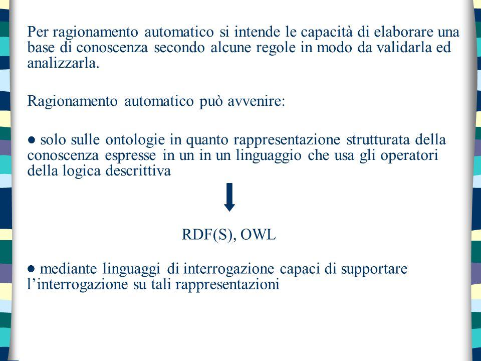 Per ragionamento automatico si intende le capacità di elaborare una base di conoscenza secondo alcune regole in modo da validarla ed analizzarla. Ragi