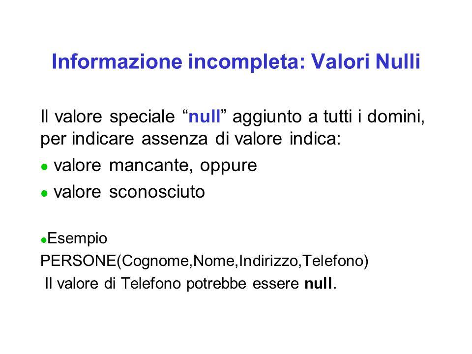 Informazione incompleta: Valori Nulli Il valore speciale null aggiunto a tutti i domini, per indicare assenza di valore indica: l valore mancante, oppure l valore sconosciuto l Esempio PERSONE(Cognome,Nome,Indirizzo,Telefono) Il valore di Telefono potrebbe essere null.