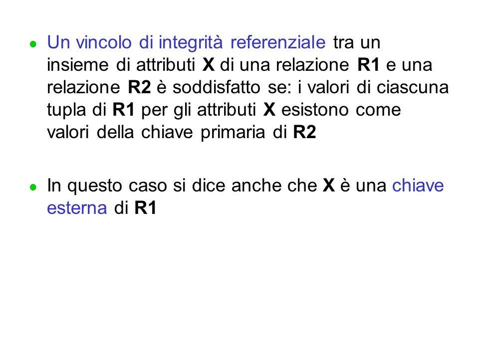 l Un vincolo di integrità referenziale tra un insieme di attributi X di una relazione R1 e una relazione R2 è soddisfatto se: i valori di ciascuna tupla di R1 per gli attributi X esistono come valori della chiave primaria di R2 l In questo caso si dice anche che X è una chiave esterna di R1