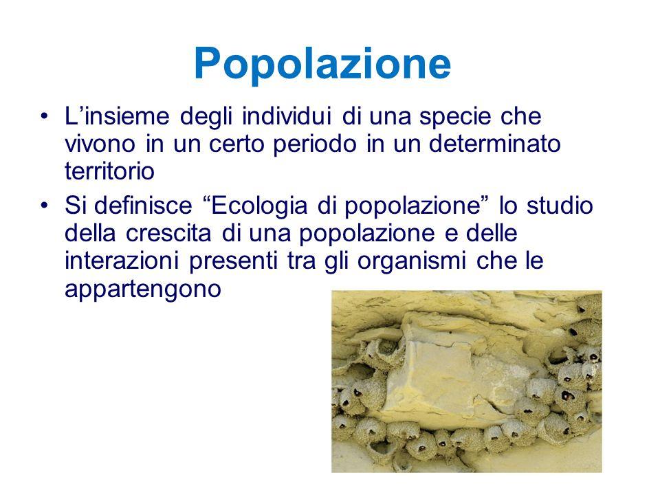 """Popolazione L'insieme degli individui di una specie che vivono in un certo periodo in un determinato territorio Si definisce """"Ecologia di popolazione"""""""