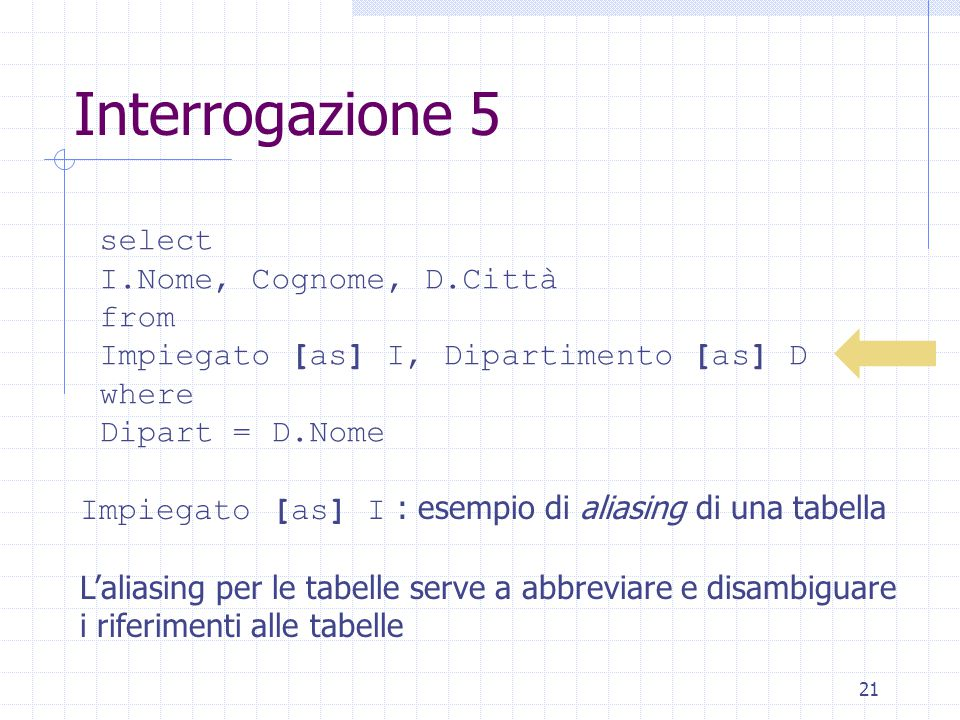 21 Interrogazione 5 select I.Nome, Cognome, D.Città from Impiegato [as] I, Dipartimento [as] D where Dipart = D.Nome Impiegato [as] I : esempio di aliasing di una tabella L'aliasing per le tabelle serve a abbreviare e disambiguare i riferimenti alle tabelle