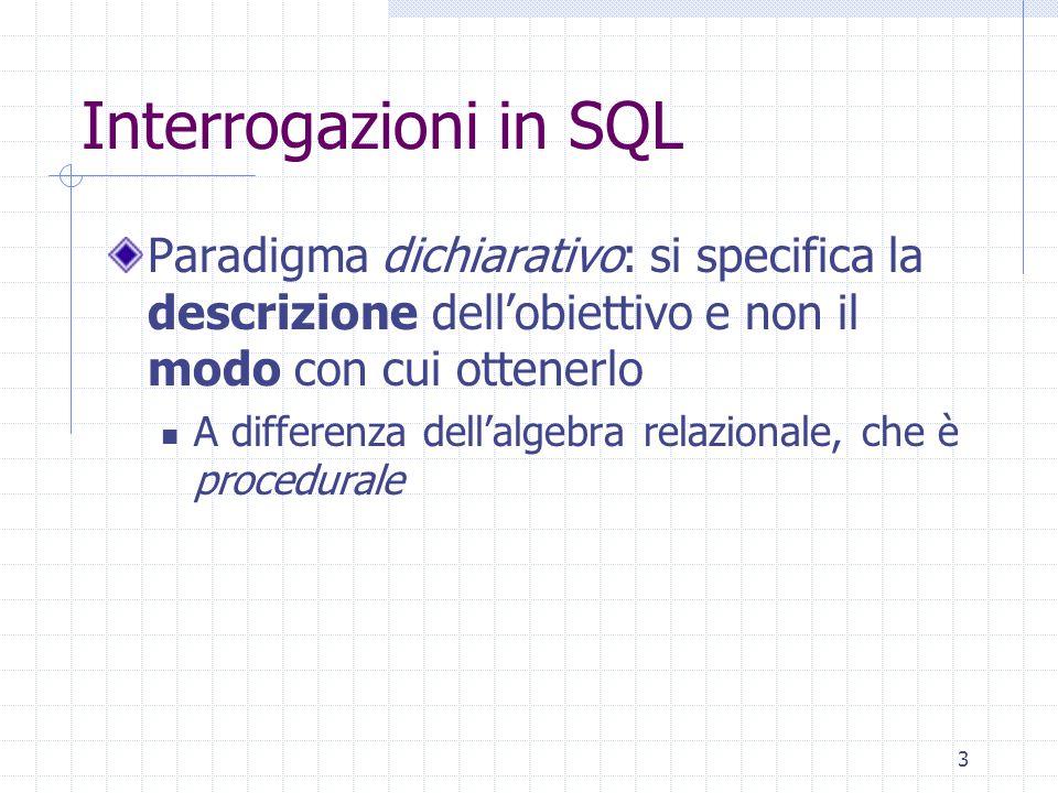 3 Interrogazioni in SQL Paradigma dichiarativo: si specifica la descrizione dell'obiettivo e non il modo con cui ottenerlo A differenza dell'algebra relazionale, che è procedurale