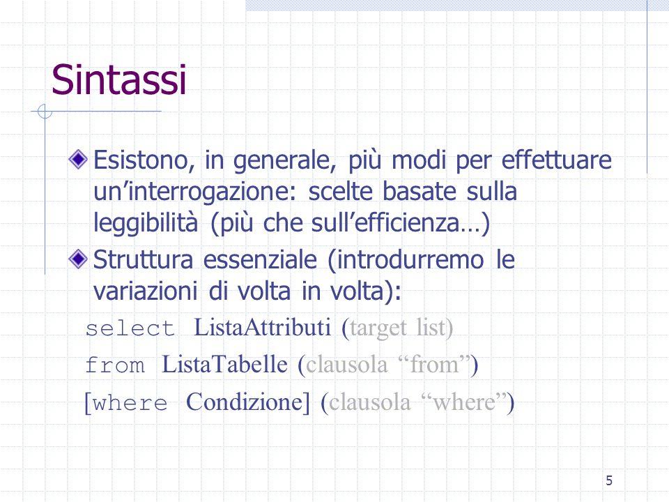 6 Notazione Le parentesi angolari : permettono di isolare un termine della sintassi Le parentesi quadre [,]: indicano che il termine all'interno è opzionale Può non comparire o comparire una sola volta