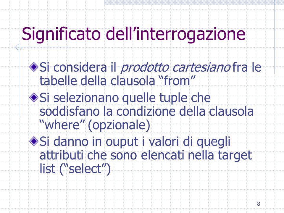 39 Interrogazione 12 select count(*) from Impiegato where Dipart = 'Prod' count( ) valori diversi tra loro non null