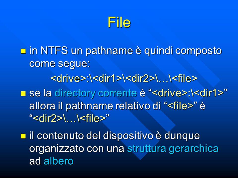 File in NTFS un pathname è quindi composto come segue: in NTFS un pathname è quindi composto come segue:<drive>:\<dir1>\<dir2>\…\<file> se la directory corrente è :\ allora il pathname relativo di è \…\ se la directory corrente è :\ allora il pathname relativo di è \…\ il contenuto del dispositivo è dunque organizzato con una struttura gerarchica ad albero il contenuto del dispositivo è dunque organizzato con una struttura gerarchica ad albero