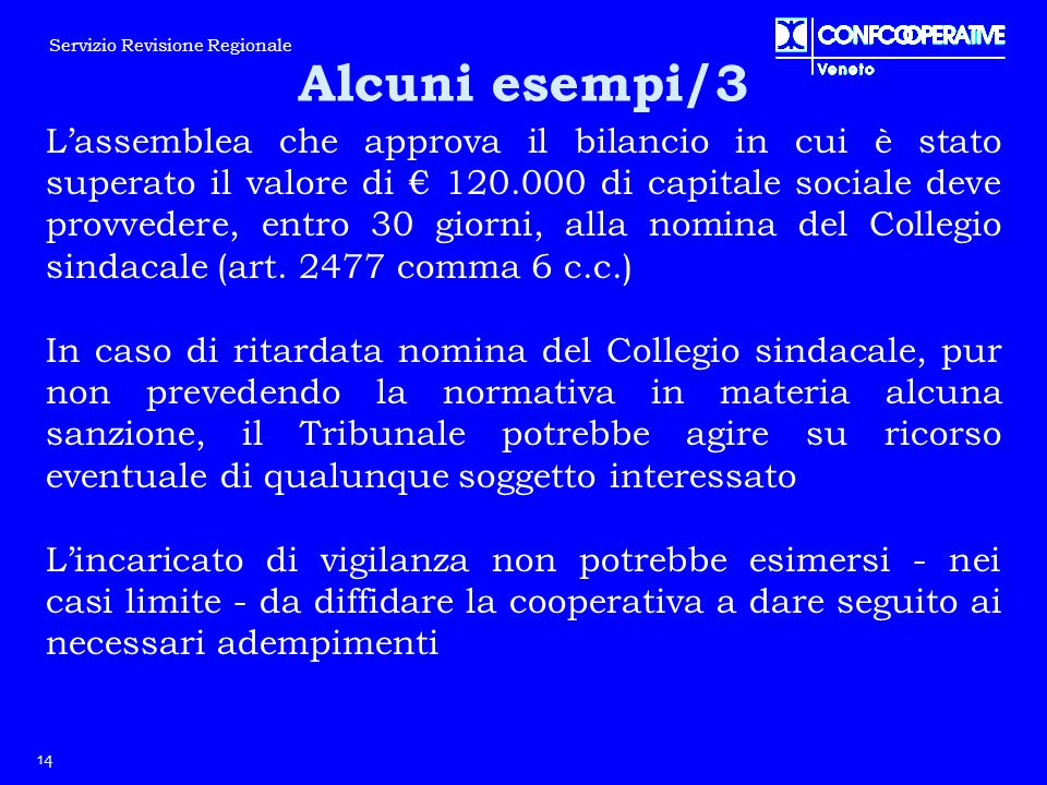 L'assemblea che approva il bilancio in cui è stato superato il valore di € 120.000 di capitale sociale deve provvedere, entro 30 giorni, alla nomina d