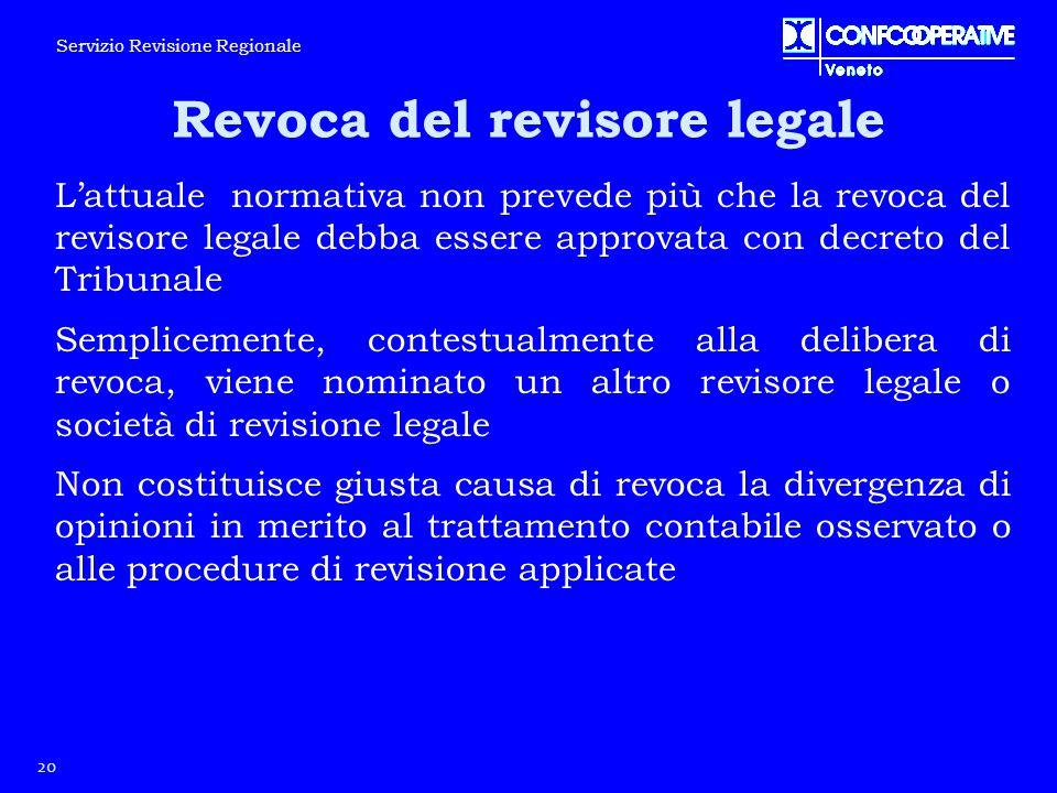 L'attuale normativa non prevede più che la revoca del revisore legale debba essere approvata con decreto del Tribunale Semplicemente, contestualmente