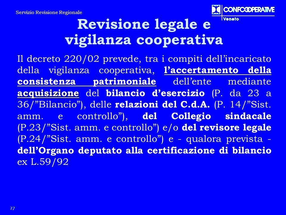 acquisizione Il decreto 220/02 prevede, tra i compiti dell'incaricato della vigilanza cooperativa, l'accertamento della consistenza patrimoniale dell'