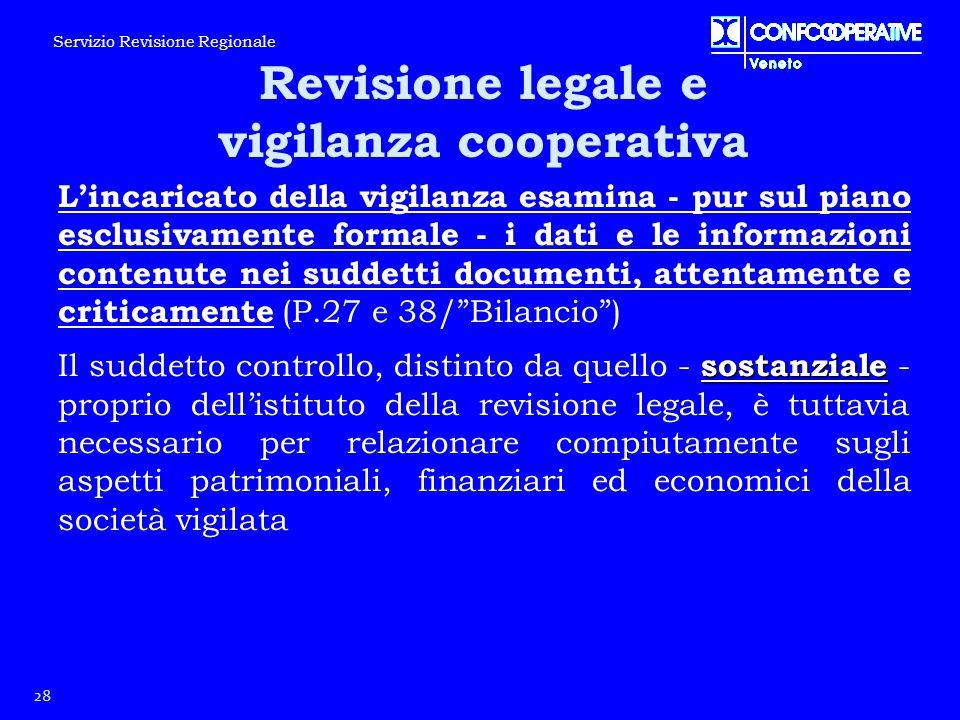 L'incaricato della vigilanza esamina - pur sul piano esclusivamente formale - i dati e le informazioni contenute nei suddetti documenti, attentamente