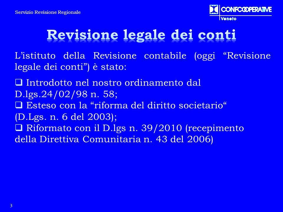 """L'istituto della Revisione contabile (oggi """"Revisione legale dei conti"""") è stato:  Introdotto nel nostro ordinamento dal D.lgs.24/02/98 n. 58;  Este"""