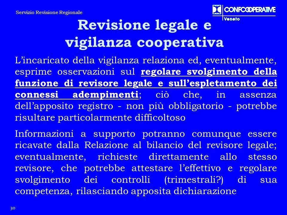 L'incaricato della vigilanza relaziona ed, eventualmente, esprime osservazioni sul regolare svolgimento della funzione di revisore legale e sull'esple