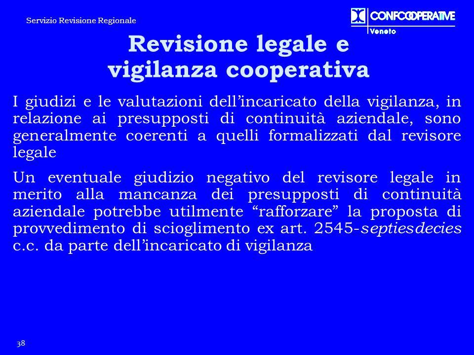 38 Servizio Revisione Regionale Revisione legale e vigilanza cooperativa I giudizi e le valutazioni dell'incaricato della vigilanza, in relazione ai p