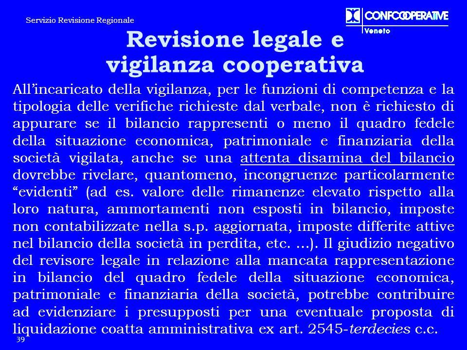 39 Servizio Revisione Regionale Revisione legale e vigilanza cooperativa All'incaricato della vigilanza, per le funzioni di competenza e la tipologia