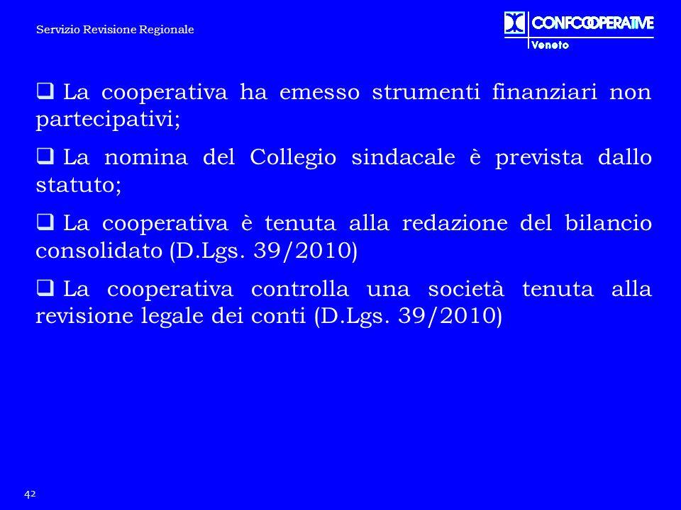  La cooperativa ha emesso strumenti finanziari non partecipativi;  La nomina del Collegio sindacale è prevista dallo statuto;  La cooperativa è ten