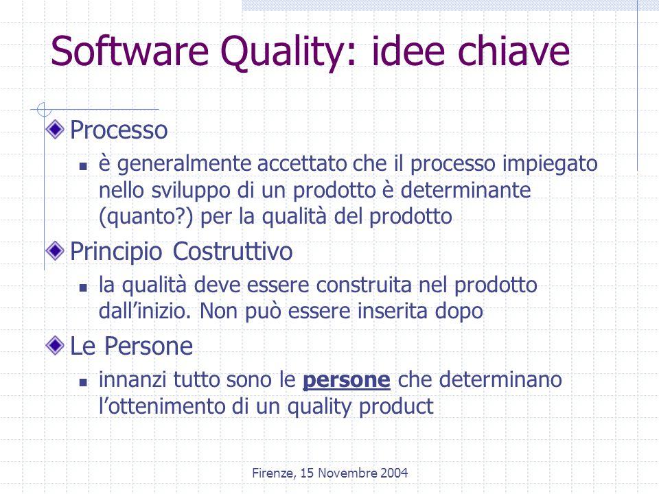Firenze, 15 Novembre 2004 Software Quality: idee chiave Processo è generalmente accettato che il processo impiegato nello sviluppo di un prodotto è determinante (quanto ) per la qualità del prodotto Principio Costruttivo la qualità deve essere construita nel prodotto dall'inizio.