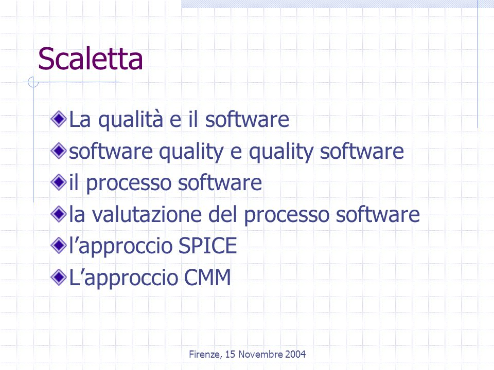 Firenze, 15 Novembre 2004 Capability Maturity Model - CMM The CMM for SW (CMM) is a framework that describes the key elements of an effective SW process.