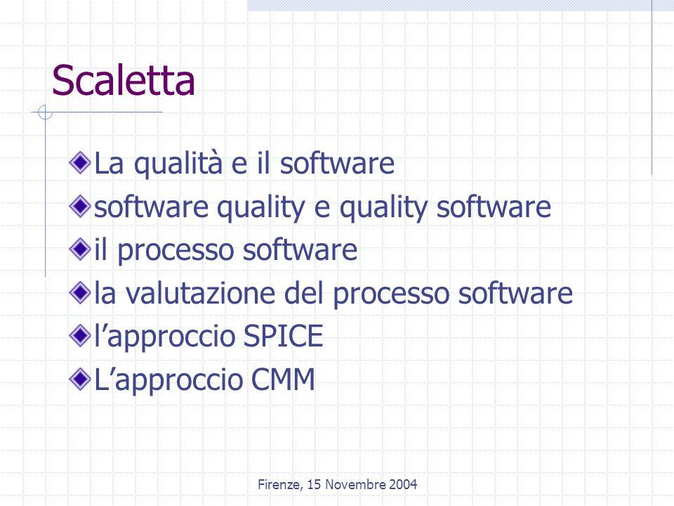 Firenze, 15 Novembre 2004 Scaletta La qualità e il software software quality e quality software il processo software la valutazione del processo software l'approccio SPICE L'approccio CMM