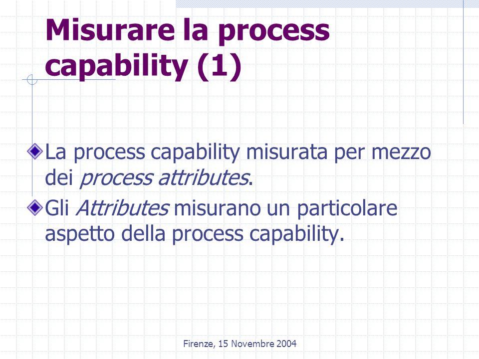 Firenze, 15 Novembre 2004 Misurare la process capability (1) La process capability misurata per mezzo dei process attributes. Gli Attributes misurano