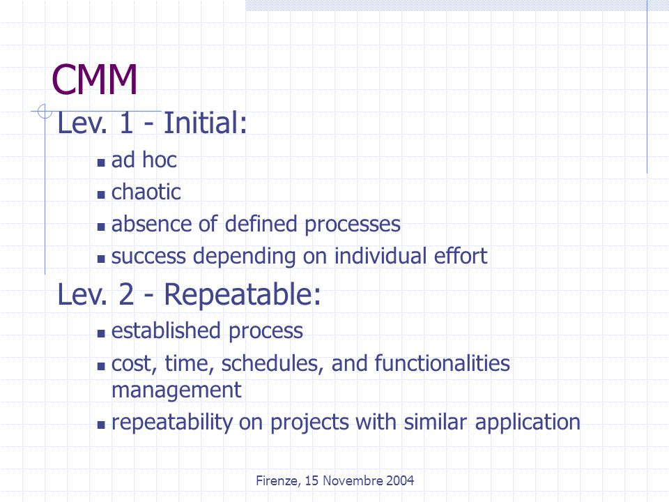 Firenze, 15 Novembre 2004 CMM Lev. 1 - Initial: ad hoc chaotic absence of defined processes success depending on individual effort Lev. 2 - Repeatable