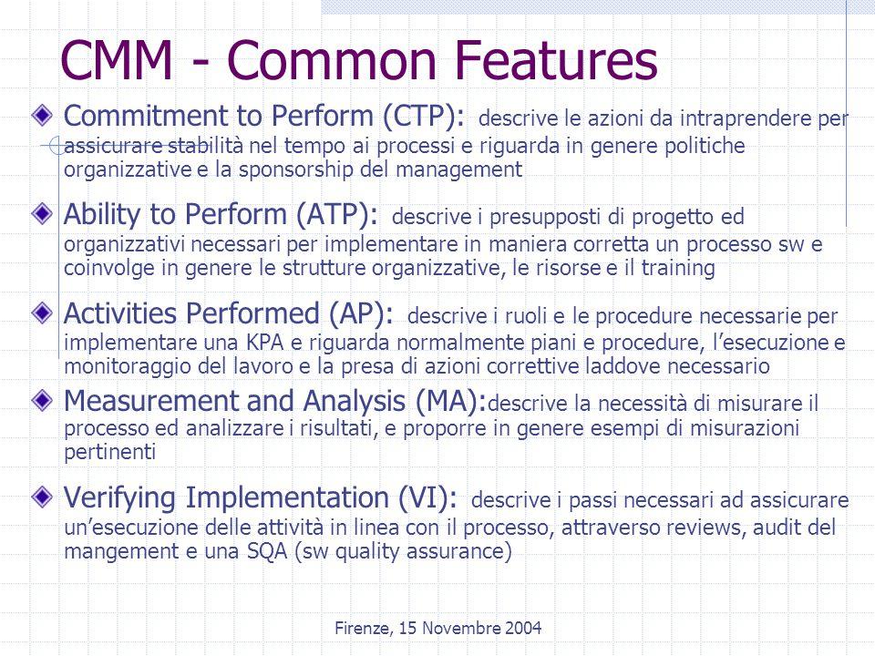 Firenze, 15 Novembre 2004 CMM - Common Features Commitment to Perform (CTP): descrive le azioni da intraprendere per assicurare stabilità nel tempo ai