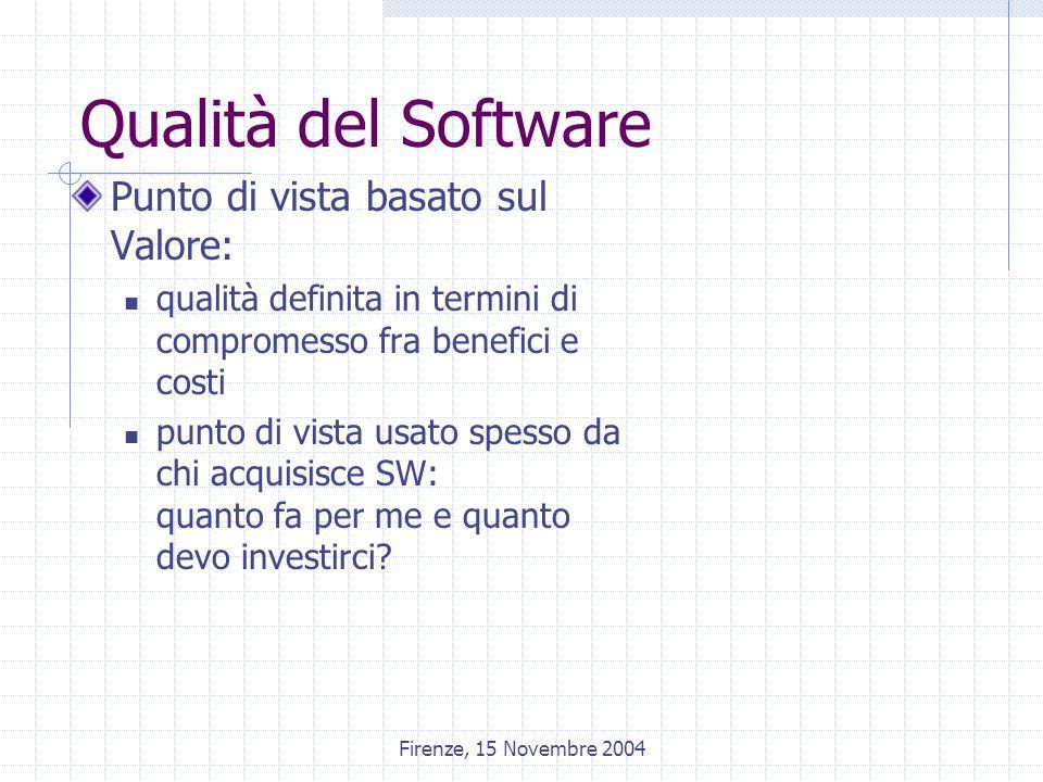 Firenze, 15 Novembre 2004 Qualità del Software Punto di vista basato sul Valore: qualità definita in termini di compromesso fra benefici e costi punto di vista usato spesso da chi acquisisce SW: quanto fa per me e quanto devo investirci