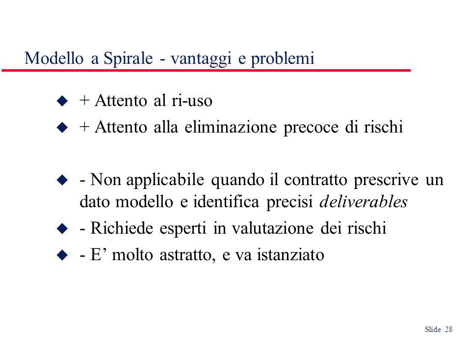 Slide 28 Modello a Spirale - vantaggi e problemi  + Attento al ri-uso  + Attento alla eliminazione precoce di rischi  - Non applicabile quando il contratto prescrive un dato modello e identifica precisi deliverables  - Richiede esperti in valutazione dei rischi  - E' molto astratto, e va istanziato