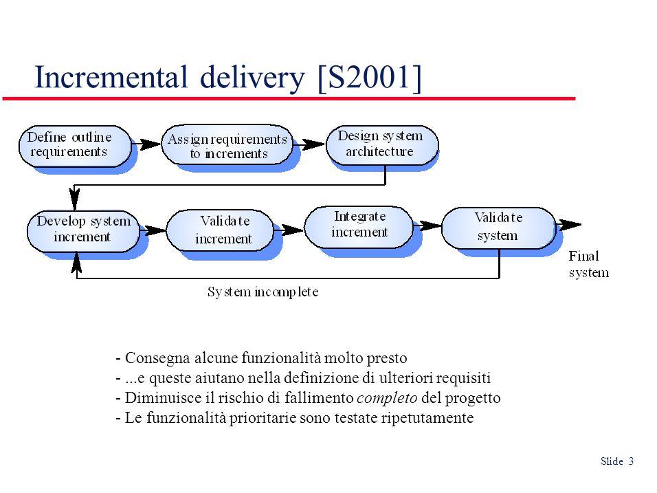 Slide 3 Incremental delivery [S2001] - Consegna alcune funzionalità molto presto -...e queste aiutano nella definizione di ulteriori requisiti - Diminuisce il rischio di fallimento completo del progetto - Le funzionalità prioritarie sono testate ripetutamente