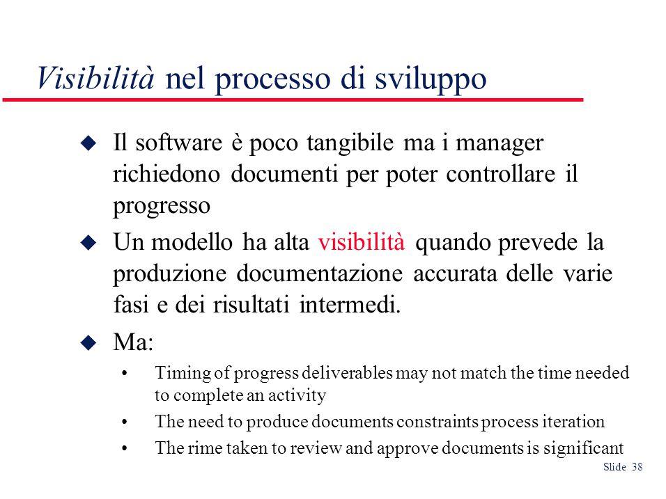 Slide 38 Visibilità nel processo di sviluppo  Il software è poco tangibile ma i manager richiedono documenti per poter controllare il progresso  Un modello ha alta visibilità quando prevede la produzione documentazione accurata delle varie fasi e dei risultati intermedi.