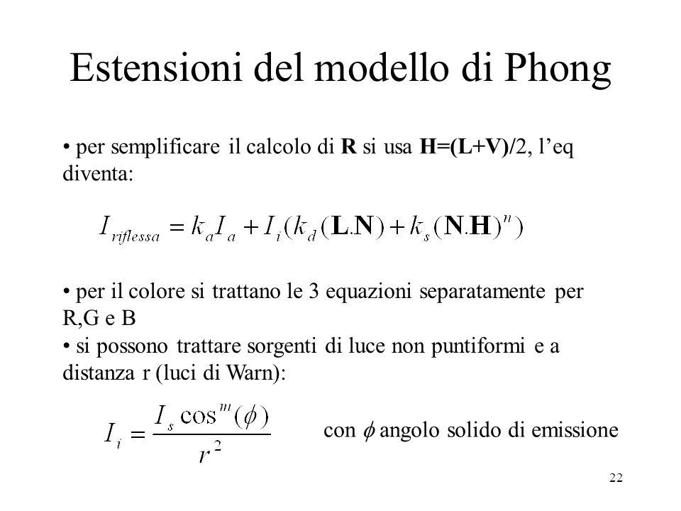 22 Estensioni del modello di Phong per semplificare il calcolo di R si usa H=(L+V)/2, l'eq diventa: per il colore si trattano le 3 equazioni separatamente per R,G e B si possono trattare sorgenti di luce non puntiformi e a distanza r (luci di Warn): con  angolo solido di emissione