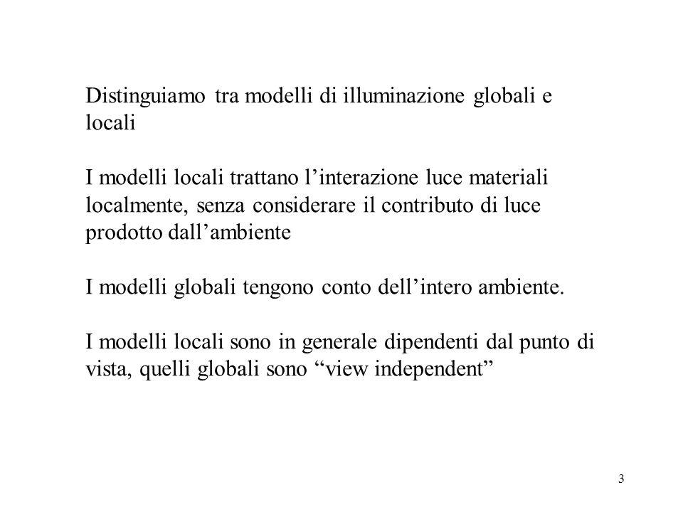 3 Distinguiamo tra modelli di illuminazione globali e locali I modelli locali trattano l'interazione luce materiali localmente, senza considerare il contributo di luce prodotto dall'ambiente I modelli globali tengono conto dell'intero ambiente.