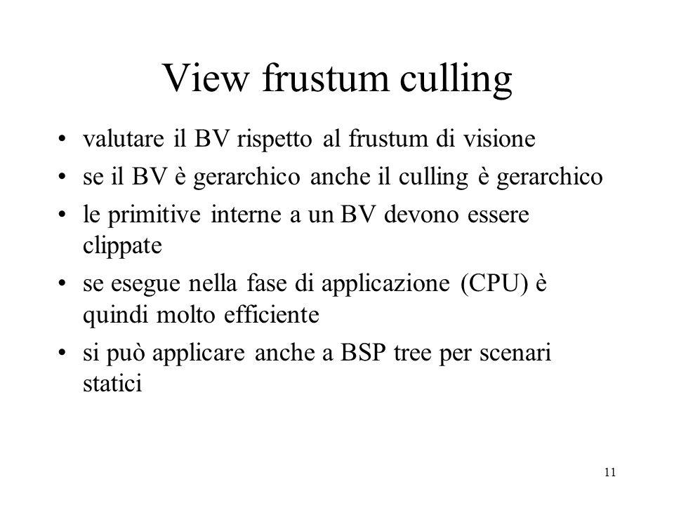 11 View frustum culling valutare il BV rispetto al frustum di visione se il BV è gerarchico anche il culling è gerarchico le primitive interne a un BV