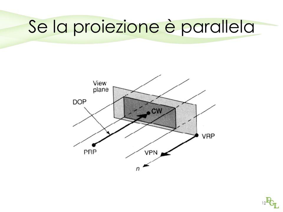 12 Se la proiezione è parallela