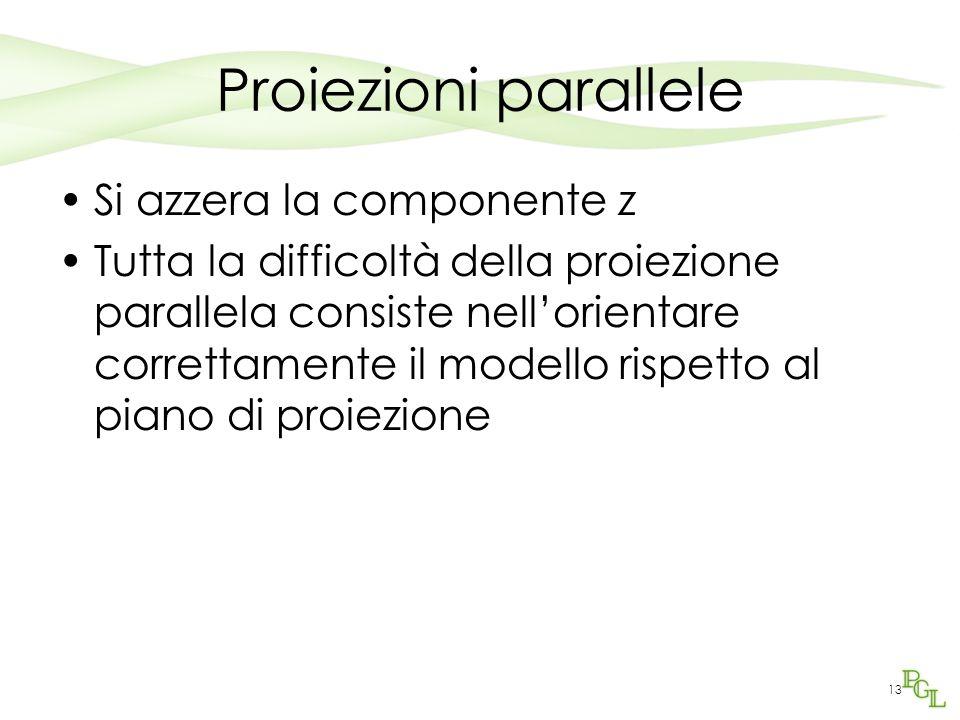 13 Proiezioni parallele Si azzera la componente z Tutta la difficoltà della proiezione parallela consiste nell'orientare correttamente il modello risp