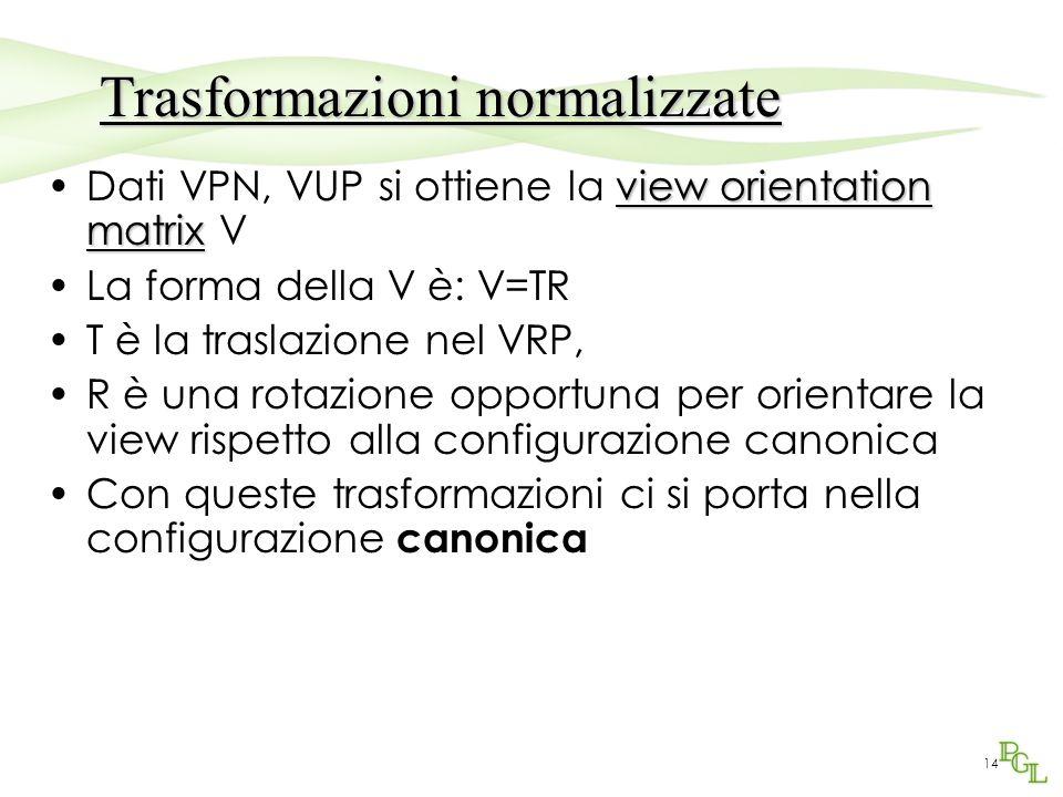 14 view orientation matrixDati VPN, VUP si ottiene la view orientation matrix V La forma della V è: V=TR T è la traslazione nel VRP, R è una rotazione