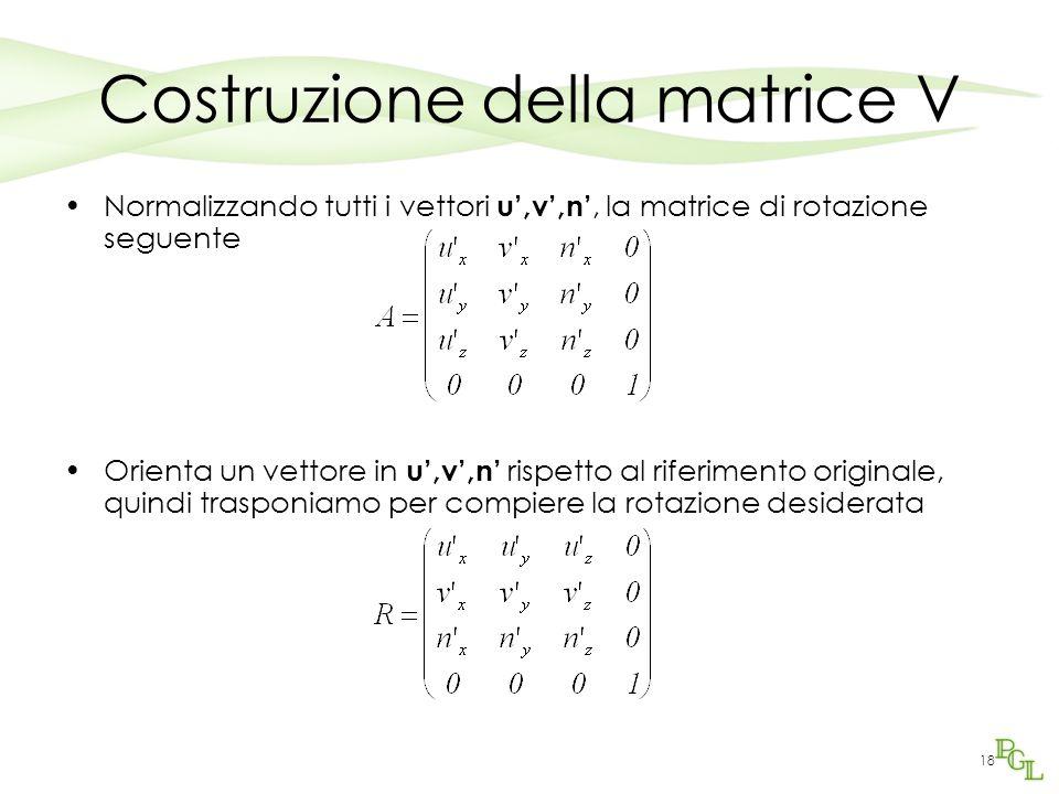 18 Costruzione della matrice V Normalizzando tutti i vettori u',v',n', la matrice di rotazione seguente Orienta un vettore in u',v',n' rispetto al rif