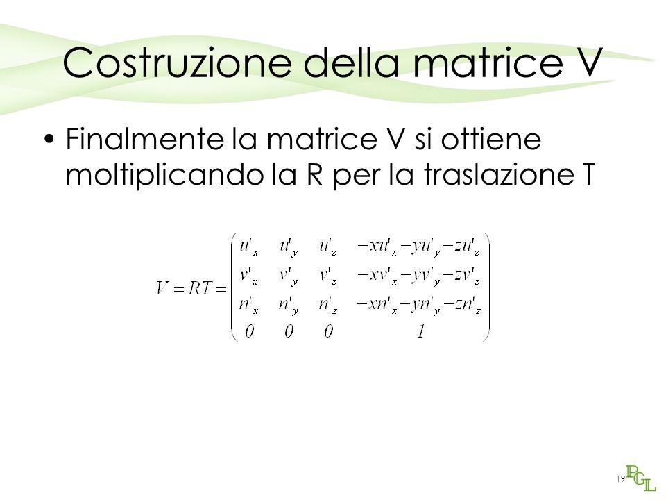 19 Costruzione della matrice V Finalmente la matrice V si ottiene moltiplicando la R per la traslazione T