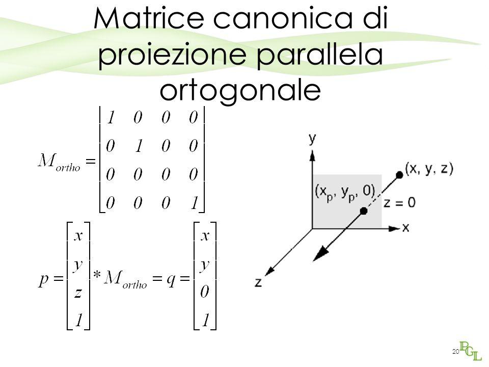 20 Matrice canonica di proiezione parallela ortogonale