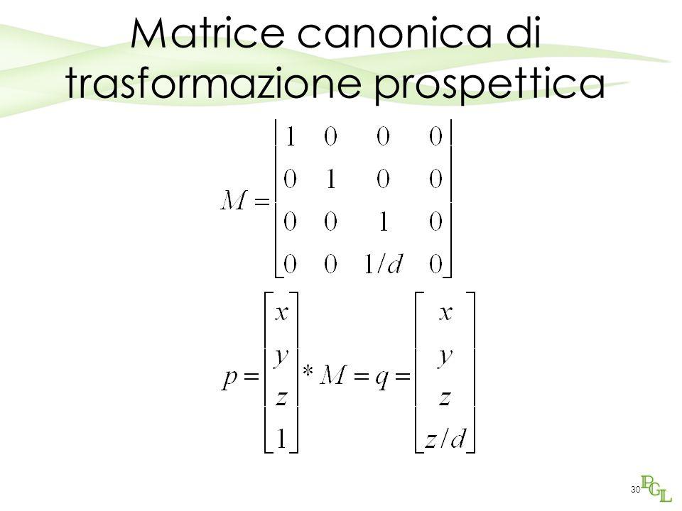 30 Matrice canonica di trasformazione prospettica