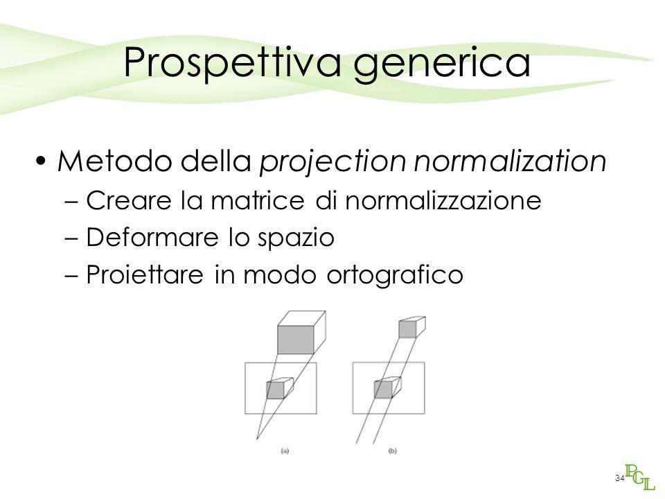 34 Prospettiva generica Metodo della projection normalization –Creare la matrice di normalizzazione –Deformare lo spazio –Proiettare in modo ortografi