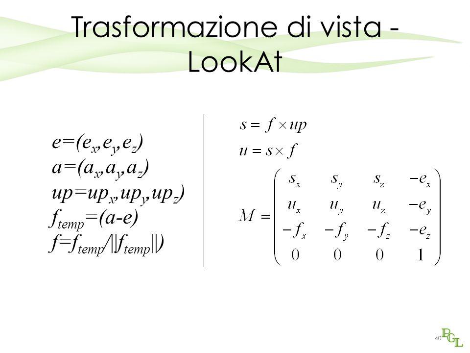 40 Trasformazione di vista - LookAt e=(e x,e y,e z ) a=(a x,a y,a z ) up=up x,up y,up z ) f temp =(a-e) f=f temp /||f temp ||)