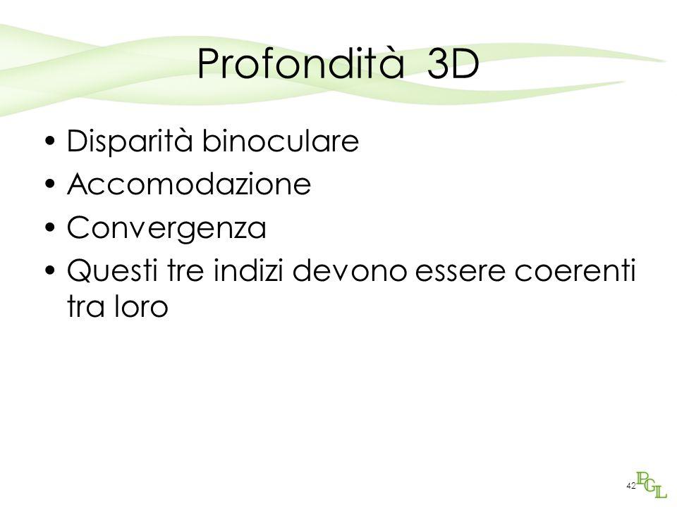 Profondità 3D Disparità binoculare Accomodazione Convergenza Questi tre indizi devono essere coerenti tra loro 42