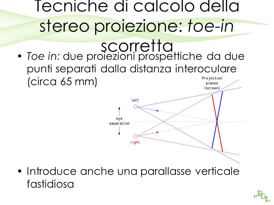Tecniche di calcolo della stereo proiezione: toe-in scorretta Toe in: due proiezioni prospettiche da due punti separati dalla distanza interoculare (c