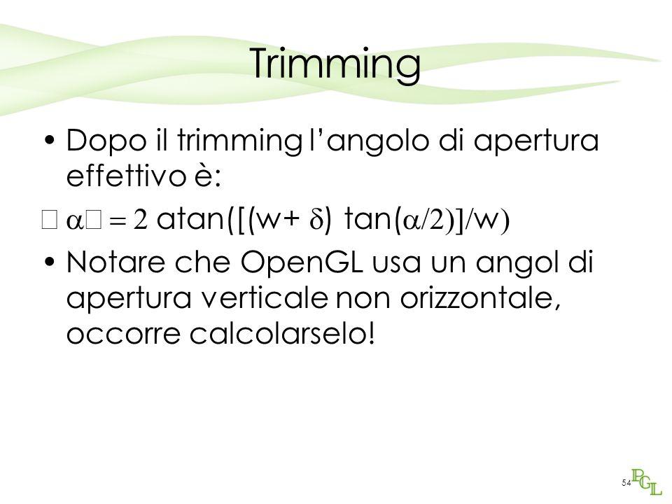 Trimming Dopo il trimming l'angolo di apertura effettivo è:  '  atan([(w+  ) tan(  w  Notare che OpenGL usa un angol di apertura vertic