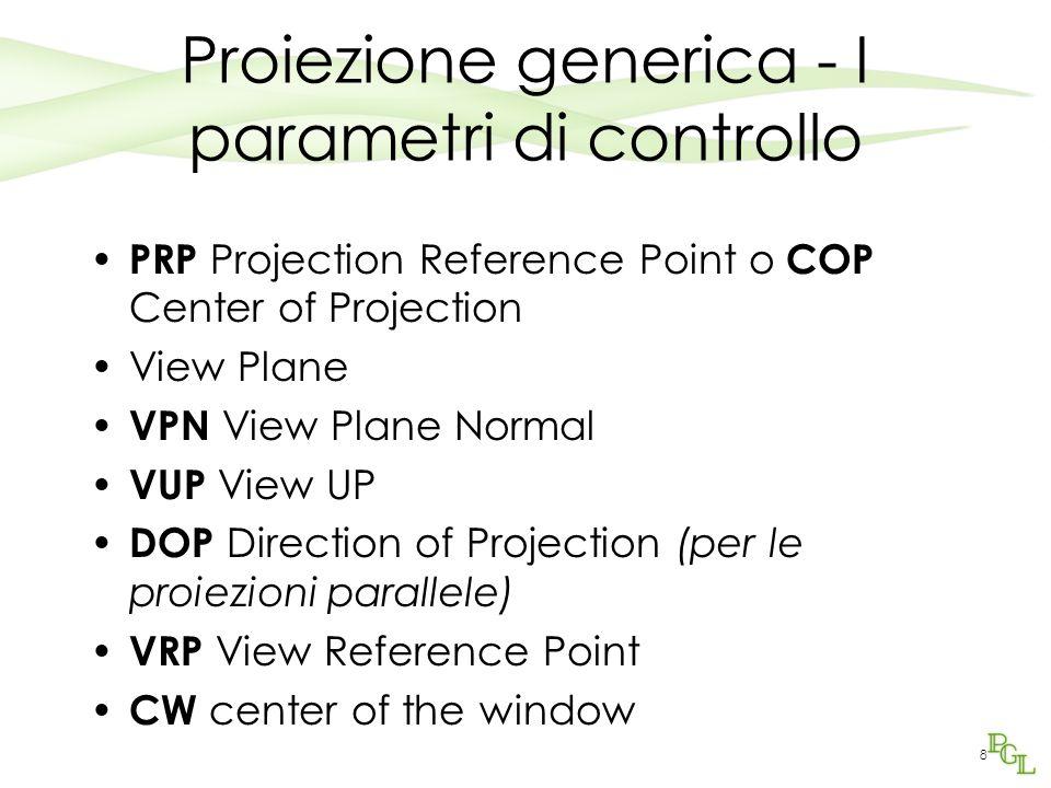 8 Proiezione generica - I parametri di controllo PRP Projection Reference Point o COP Center of Projection View Plane VPN View Plane Normal VUP View U