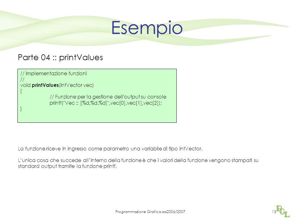 Programmazione Grafica aa2006/200713 Esempio Parte 04 :: printValues La funzione riceve in ingresso come parametro una variabile di tipo intVector.
