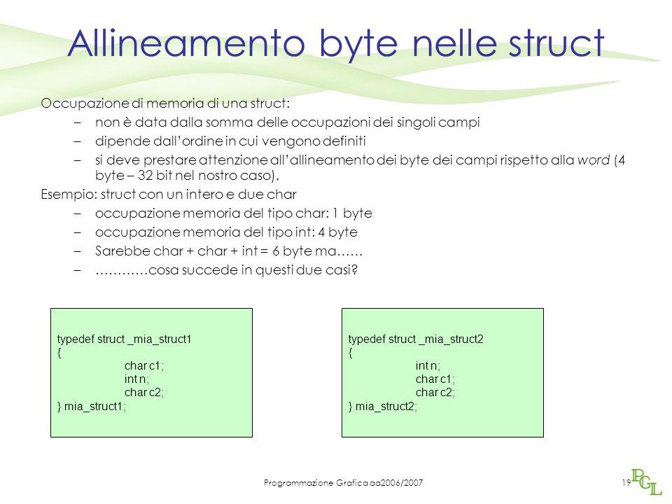 Programmazione Grafica aa2006/200719 Allineamento byte nelle struct Occupazione di memoria di una struct: –non è data dalla somma delle occupazioni dei singoli campi –dipende dall'ordine in cui vengono definiti –si deve prestare attenzione all'allineamento dei byte dei campi rispetto alla word (4 byte – 32 bit nel nostro caso).